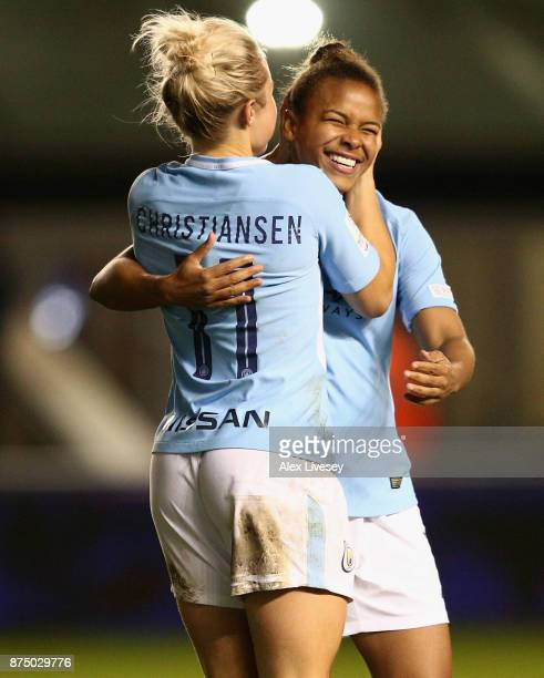 Izzy Christiansen of Manchester City Women celebrates with Nikita Parris after scoring her goal during the UEFA Women's Champions League match...