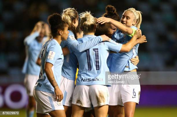 Izzy Christiansen of Manchester City Women is mobbed by team mates after scoring her goal during the UEFA Women's Champions League match between...