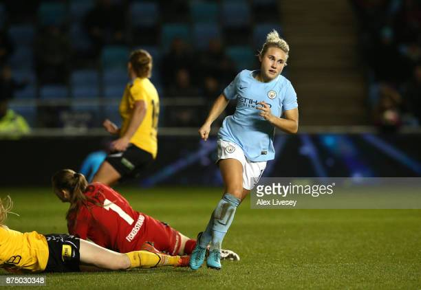 Izzy Christiansen of Manchester City Women turns to celebrate after scoring her goal during the UEFA Women's Champions League match between...
