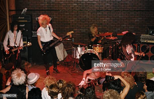 Izzy Stradlin Duff McKagan Axl Rose Steven Adler and Slash of the rock band 'Guns n' Roses' perform onstage at the Troubadour on July 20 1985 where...