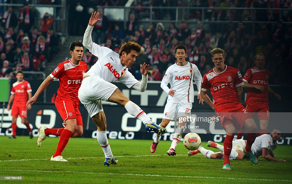Ja Cheol Koo of Augsburg scores his teams second goal during the Bundesliga match between Fortuna Duesseldorf 1895 and FC Augsburg at Esprit-Arena on January 20, 2013 in Duesseldorf, Germany.