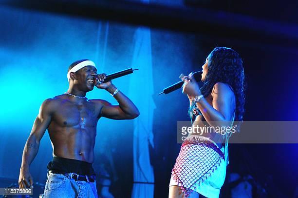 Ja Rule and Ashanti during 1027 KIISFM's 2002 Wango Tango at Rose Bowl in Pasadena California United States