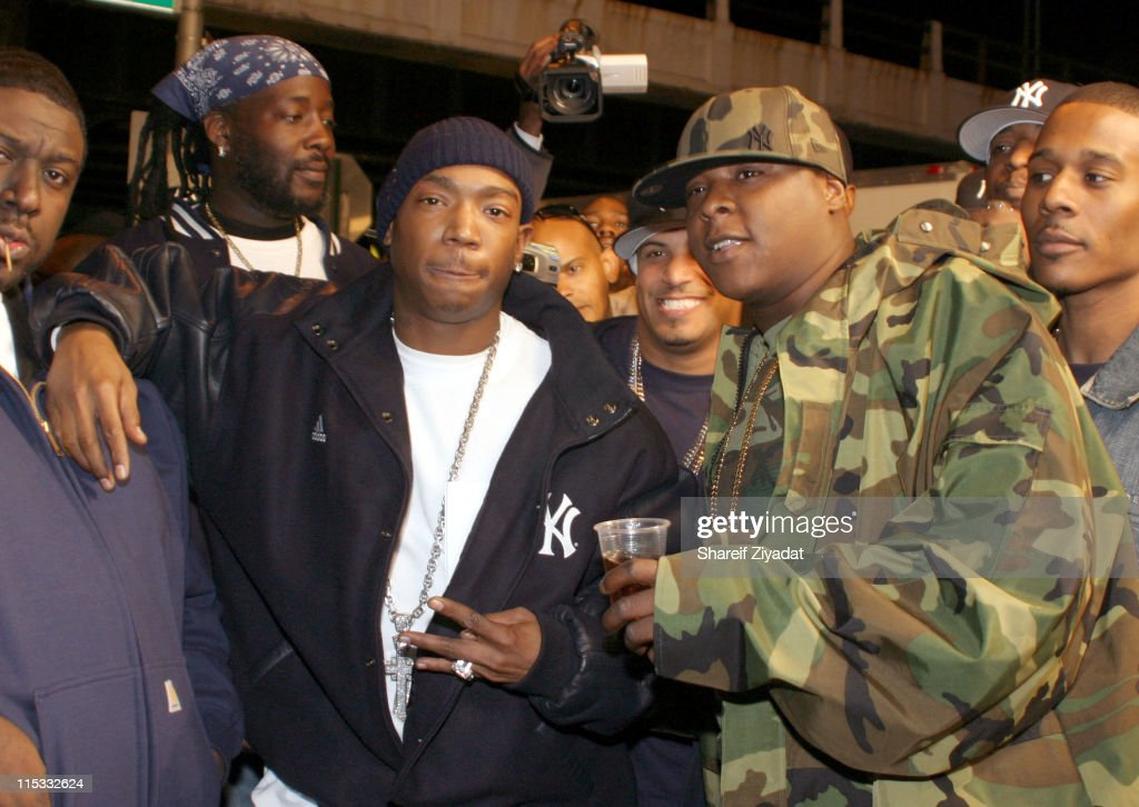 Ja Rule and Jadakiss during Ja Rule Video Shoot in New York at Streets of Harlem in New York City, New York, United States.