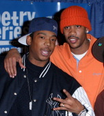 Ja Rule and Stephon Marbury during Stephon Marbury and Ja Rule Join Together For The ''Knicks Poetry Slam Series'' at The Theater Lobby at Madison...