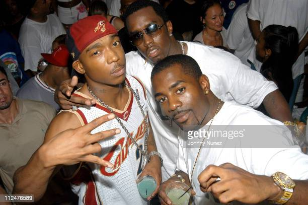 Ja Rule Sean 'P Diddy' Combs and Loon during Rocawear Party in Miami October 12 2003 at Opium in Miami Florida United States
