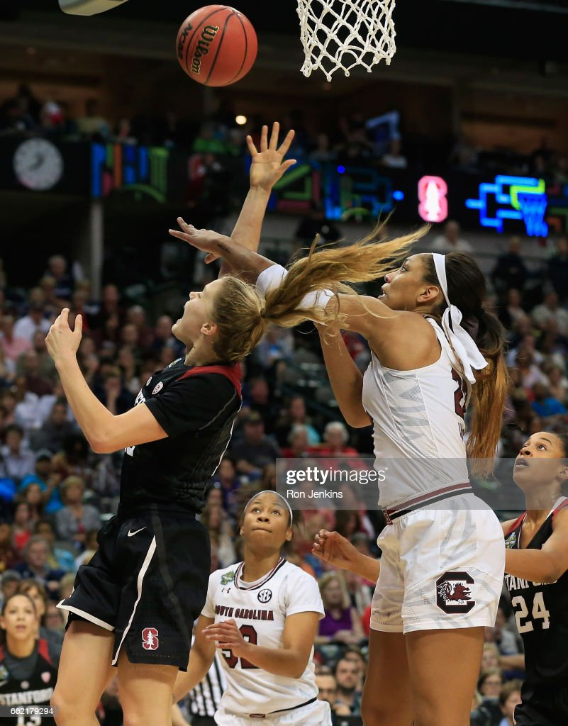 A'ja Wilson #22 of the South Carolina Gamecocks blocks a shot by Brittany McPhee #12 of the Stanford Cardinal in the second half during the semifinal round of the 2017 NCAA Women's Final Four at American Airlines Center on March 31, 2017 in Dallas, Texas. The South Carolina Gamecocks won 62-53.