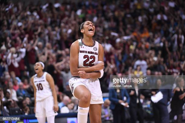 A'ja Wilson of the South Carolina Gamecocks celebrates during the 2017 Women's Final Four at American Airlines Center on March 31 2017 in Dallas Texas