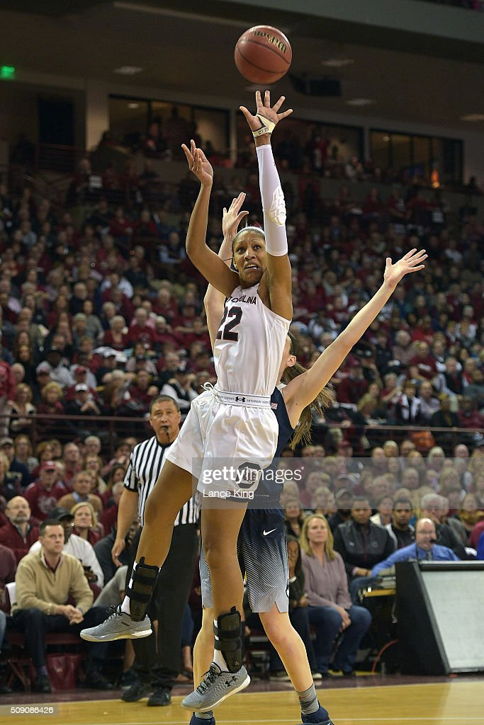A'ja Wilson #22 of the South Carolina Gamecocks puts up a shot against the Connecticut Huskies at Colonial Life Arena on February 8, 2016 in Columbia, South Carolina.