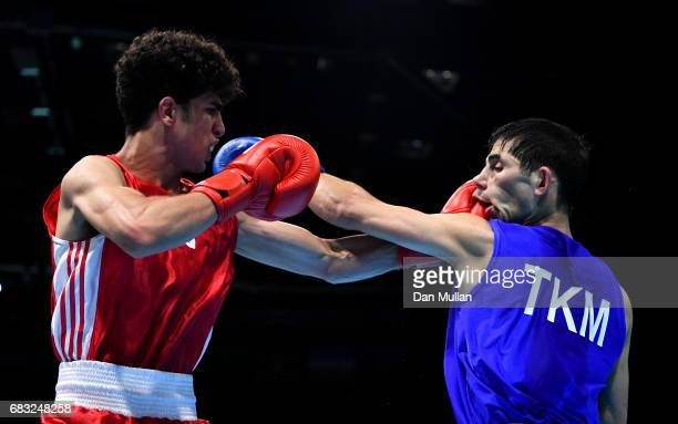 Jaafar AlSudani of Iraq competes against Yakub Meredov of Turkmenistan in the Mens Boxing Bantamweight bout during day four of Baku 2017 4th Islamic...