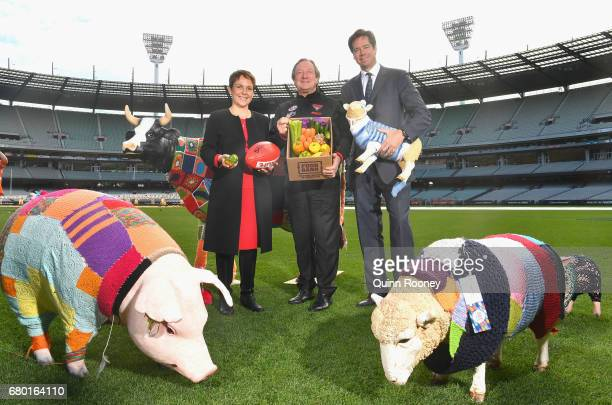 Jaala Pulford the Minister for Agriculture and Regional Development Kevin Sheedy and AFL CEO Gillon McLachlan pose during the 2017 Powercor Country...