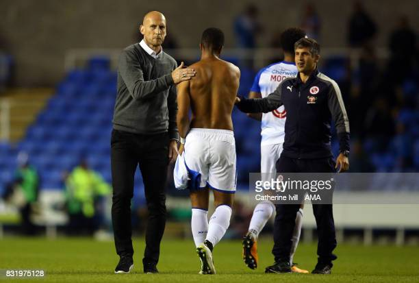 Jaap Stam manager of Reading congratulates his team after the Sky Bet Championship match between Reading and Aston Villa at Madejski Stadium on...