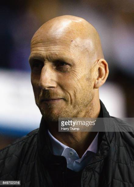 Jaap Stam Manager of Reading looks on during the Carabao Cup Third Round match between Reading and Swansea City at Madejski Stadium on September 19...