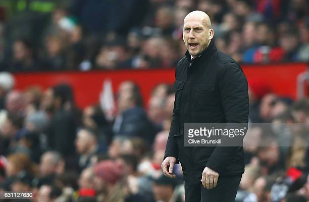 Jaap Stam Manager of Reading looks on during the Emirates FA Cup third round match between Manchester United and Reading at Old Trafford on January 7...