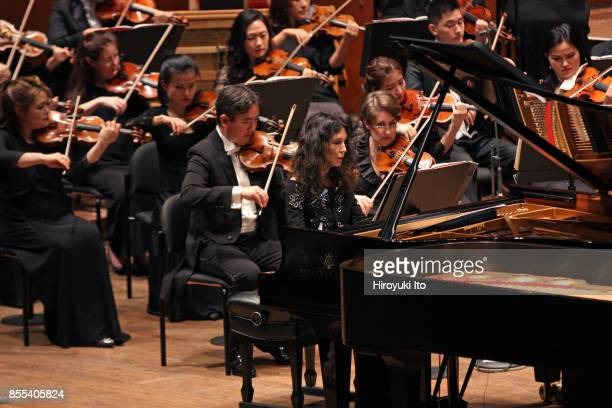 Jaap van Zweden leading the New York Philharmonic at David Geffen Hall on Friday night September 22 2017 This image Katia Labeque performing Philip...