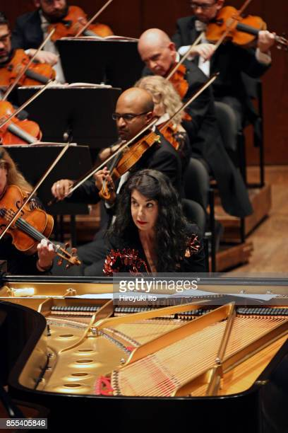 Jaap van Zweden leading the New York Philharmonic at David Geffen Hall on Friday night September 22 2017 This image Marielle Labeque performing...