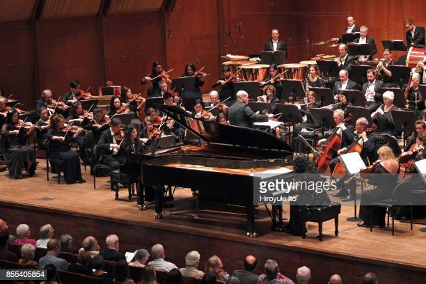 Jaap van Zweden leading the New York Philharmonic at David Geffen Hall on Friday night September 22 2017 This image Katia Labeque left and Marielle...