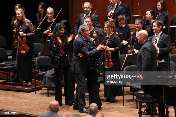 Jaap van Zweden leading the New York Philharmonic at David Geffen Hall on Friday night September 22 2017 This image From left Marielle Labeque Philip...