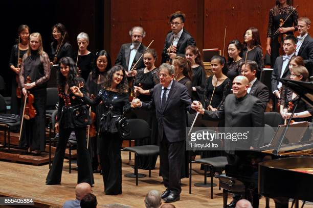 Jaap van Zweden leading the New York Philharmonic at David Geffen Hall on Friday night September 22 2017 This image From left Marielle Labeque Katia...