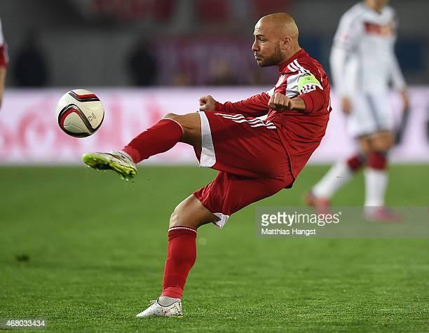 Jaba Kankava of Georgia controls the ball during the EURO 2016 Group D Qualifier match between Georgia and Germany at Boris Paichadze Stadium on...