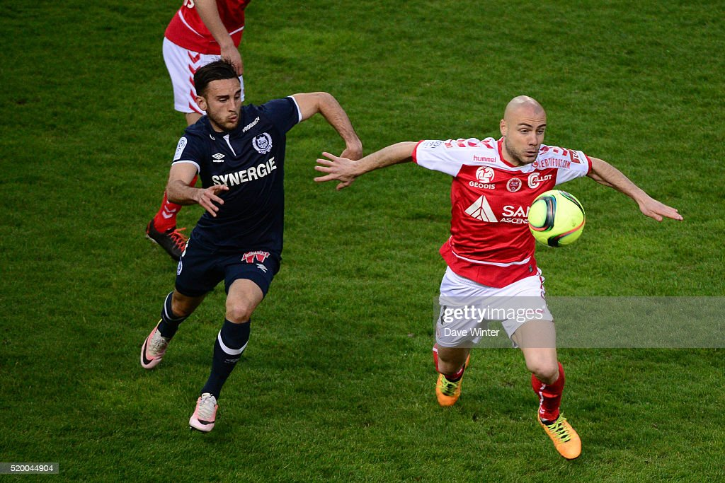 =RL= Jaba Kankava of Reims and Adrien Thomasson of Nantes during the French League 1 match between Stade de Reims and FC Nantes at Stade Auguste...