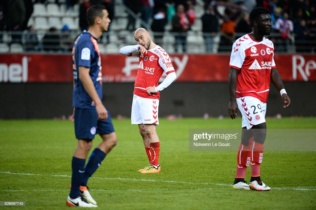 Jaba Kankava of Reims is dejected during the French Ligue 1 match between Stade de Reims and Montpellier Herault SC at Stade Auguste Delaune on April 30, 2016 in Reims, France.