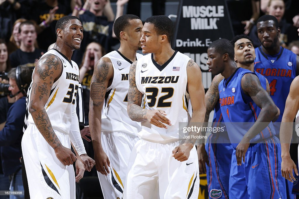 Jabari Brown #32 and Earnest Ross #33 of the Missouri Tigers celebrate against the Florida Gators during the game at Mizzou Arena on February 19, 2013 in Columbia, Missouri. Missouri upset Florida 63-60.