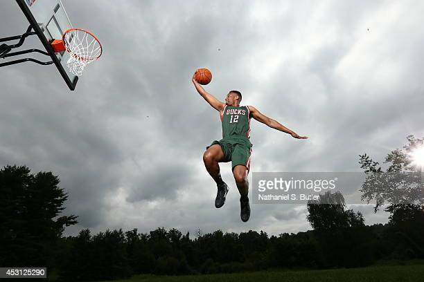 Jabari Parker #2 of the Milwaukee Bucks poses for a portrait during the 2014 NBA rookie photo shoot on August 3 2014 at the Madison Square Garden...