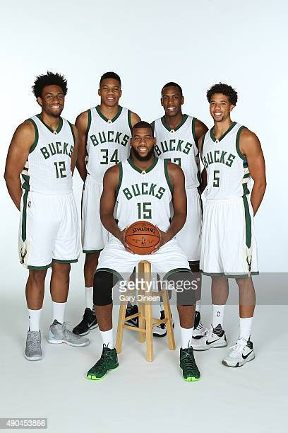 Jabari Parker Giannis Antetokounmpo Greg Monroe Khris Middleton and Michael CarterWilliams of the Milwaukee Bucks pose for a portrait during Media...