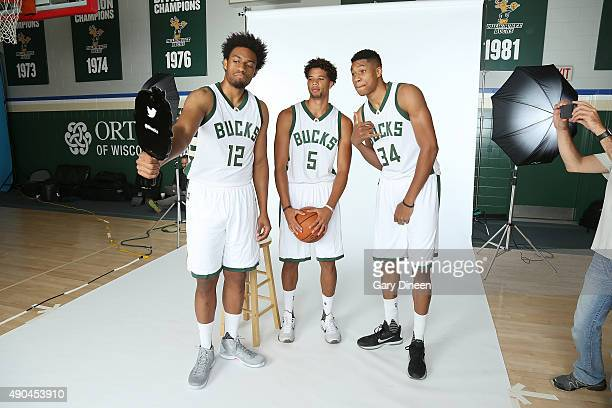 Jabari Parker Michael CarterWilliams and Giannis Antetokoumpo of the Milwaukee Bucks pose for a selfie during Media Day on September 28 2015 at the...