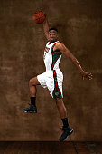 Jabari Parker of the Boston Celtics poses for a portrait during the 2014 NBA rookie photo shoot on August 3 2014 at the Madison Square Garden...