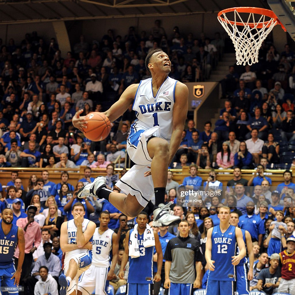 <a gi-track='captionPersonalityLinkClicked' href=/galleries/search?phrase=Jabari+Parker&family=editorial&specificpeople=9330340 ng-click='$event.stopPropagation()'>Jabari Parker</a> #1 of the Duke Blue Devils competes in a dunk contest during Countdown to Craziness at Cameron Indoor Stadium on October 18, 2013 in Durham, North Carolina.