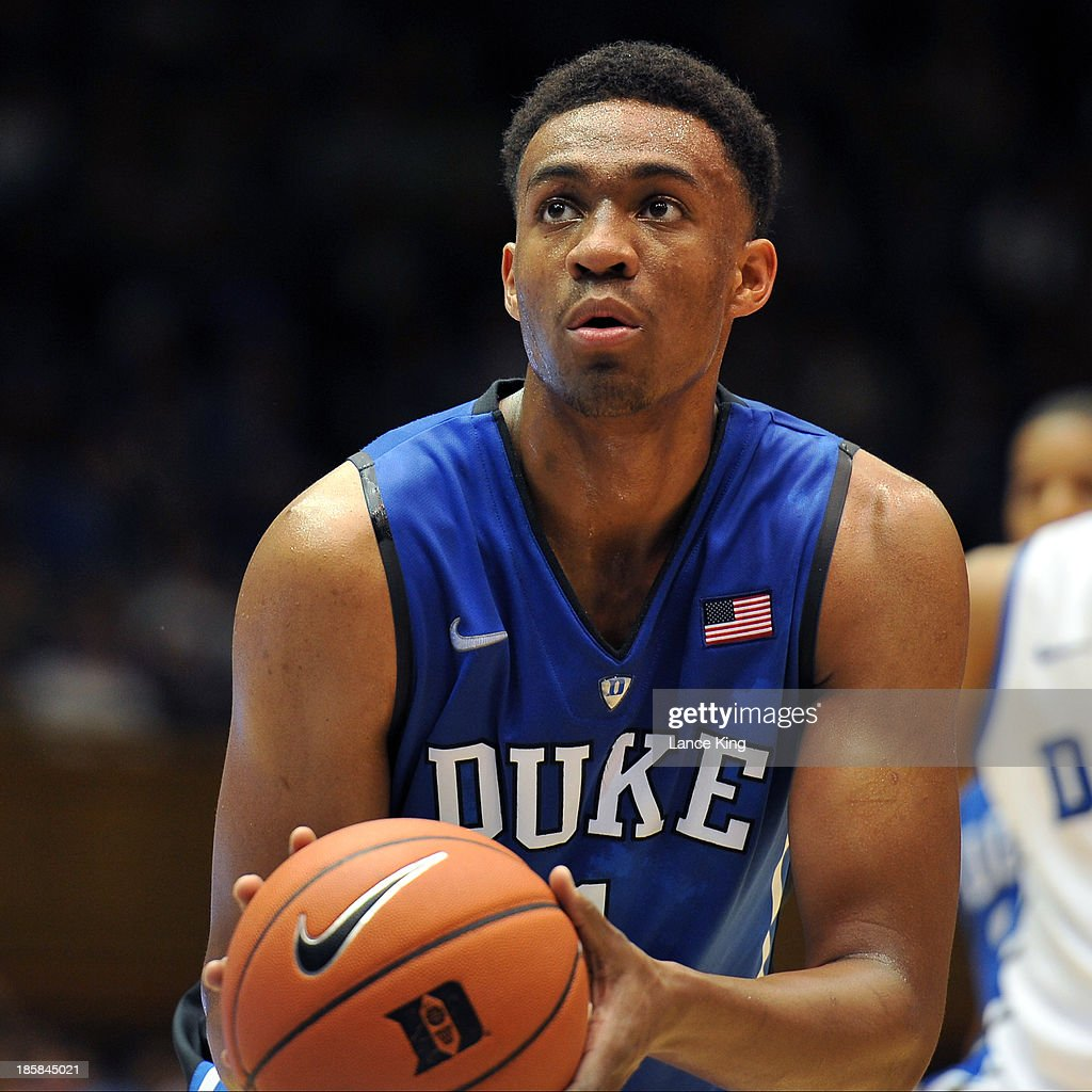 Jabari Parker #1 of the Duke Blue Devils concentrates at the free throw line during Countdown to Craziness at Cameron Indoor Stadium on October 18, 2013 in Durham, North Carolina.
