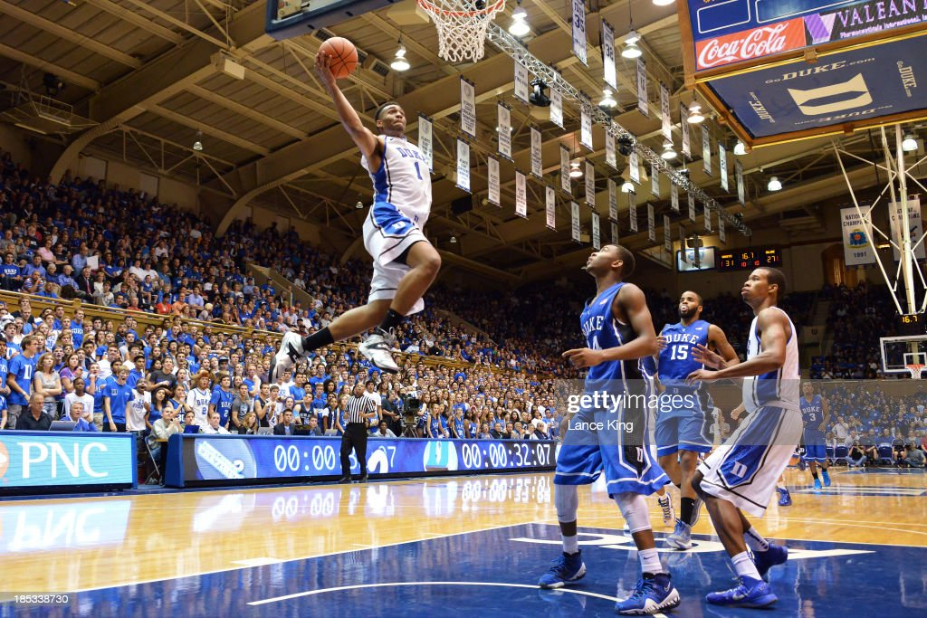<a gi-track='captionPersonalityLinkClicked' href=/galleries/search?phrase=Jabari+Parker&family=editorial&specificpeople=9330340 ng-click='$event.stopPropagation()'>Jabari Parker</a> #1 of the Duke Blue Devils goes to the hoop during Countdown to Craziness at Cameron Indoor Stadium on October 18, 2013 in Durham, North Carolina.
