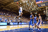 Jabari Parker of the Duke Blue Devils goes to the hoop during Countdown to Craziness at Cameron Indoor Stadium on October 18 2013 in Durham North...