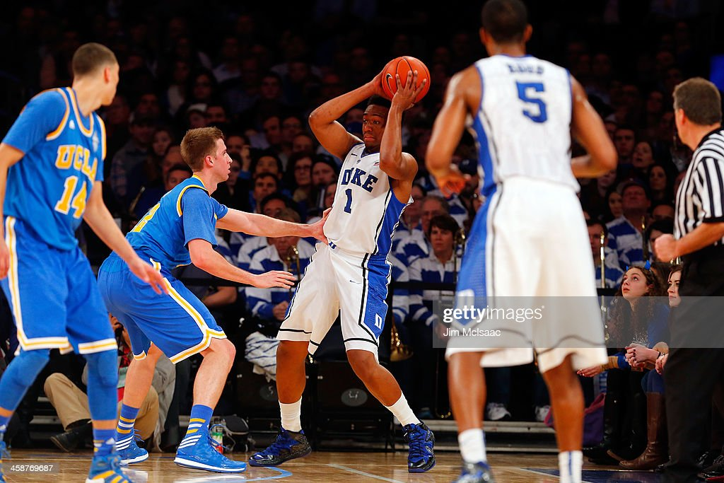 Jabari Parker #1 of the Duke Blue Devils in action against the UCLA Bruins during the CARQUEST Auto Parts Classic on December 19, 2013 at Madison Square Garden in New York City. Duke defeated UCLA