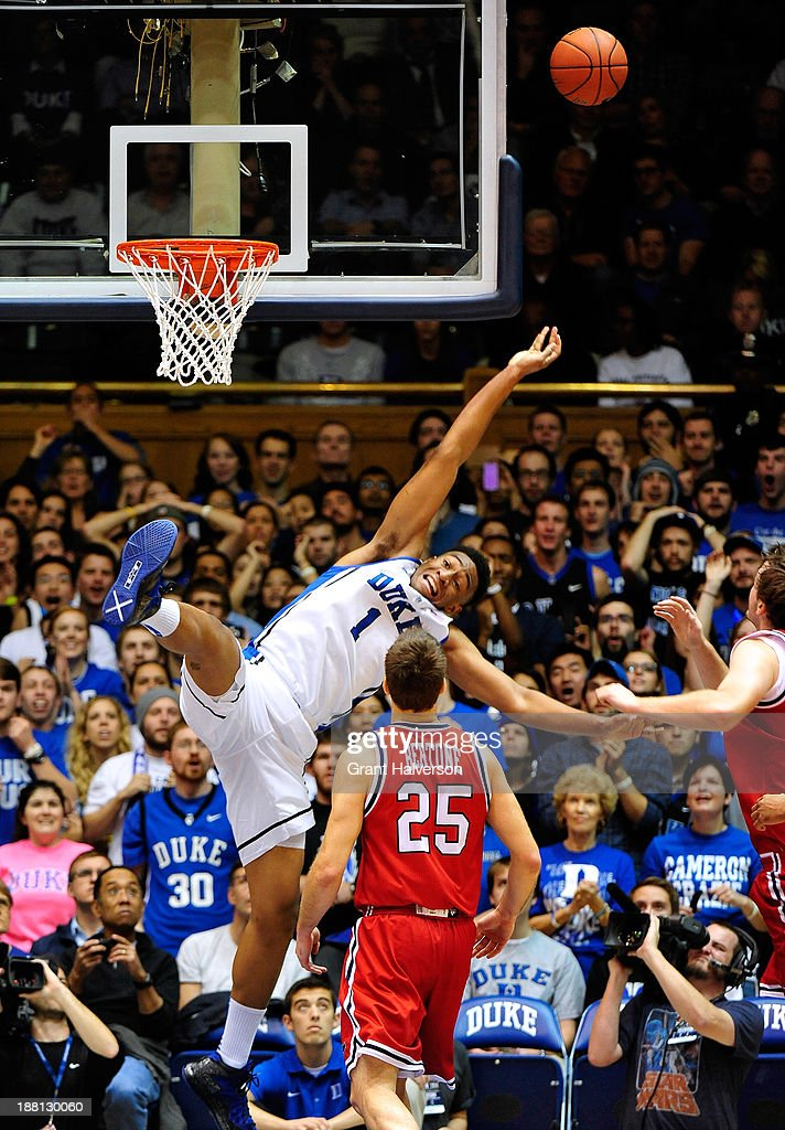 <a gi-track='captionPersonalityLinkClicked' href=/galleries/search?phrase=Jabari+Parker&family=editorial&specificpeople=9330340 ng-click='$event.stopPropagation()'>Jabari Parker</a> #1 of the Duke Blue Devils is fouled on a drive to the basket by Drgan Sekelja #3 of the Florida Atlantic Owls during play at Cameron Indoor Stadium on November 15, 2013 in Durham, North Carolina.
