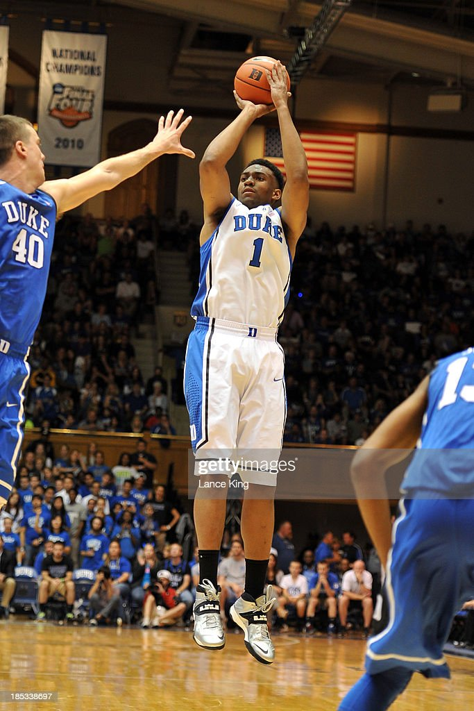 <a gi-track='captionPersonalityLinkClicked' href=/galleries/search?phrase=Jabari+Parker&family=editorial&specificpeople=9330340 ng-click='$event.stopPropagation()'>Jabari Parker</a> #1 of the Duke Blue Devils puts up a shot during Countdown to Craziness at Cameron Indoor Stadium on October 18, 2013 in Durham, North Carolina.