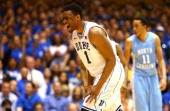 Jabari Parker of the Duke Blue Devils reacts after a play during their game against the North Carolina Tar Heels at Cameron Indoor Stadium on March 8...