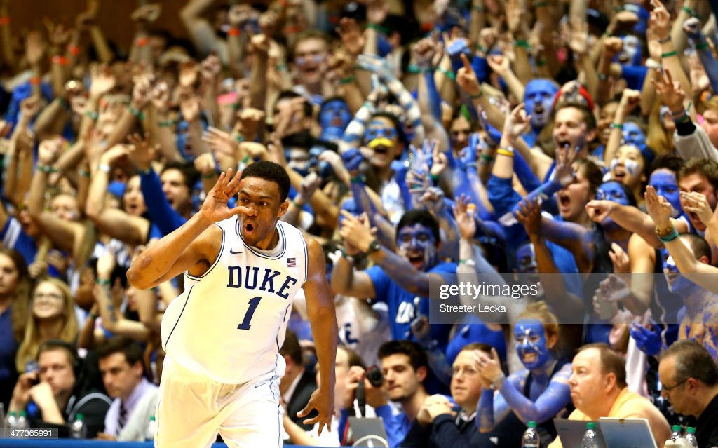 <a gi-track='captionPersonalityLinkClicked' href=/galleries/search?phrase=Jabari+Parker&family=editorial&specificpeople=9330340 ng-click='$event.stopPropagation()'>Jabari Parker</a> #1 of the Duke Blue Devils reacts after making a basket during their game against the North Carolina Tar Heels at Cameron Indoor Stadium on March 8, 2014 in Durham, North Carolina.