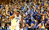 Jabari Parker of the Duke Blue Devils reacts after making a basket during their game against the North Carolina Tar Heels at Cameron Indoor Stadium...