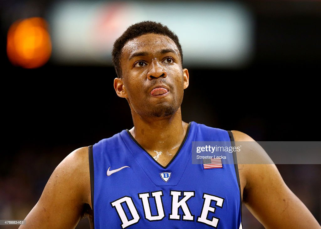 <a gi-track='captionPersonalityLinkClicked' href=/galleries/search?phrase=Jabari+Parker&family=editorial&specificpeople=9330340 ng-click='$event.stopPropagation()'>Jabari Parker</a> #1 of the Duke Blue Devils watches on during their game against the Wake Forest Demon Deacons at Joel Coliseum on March 5, 2014 in Winston-Salem, North Carolina.