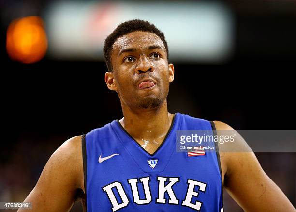Jabari Parker of the Duke Blue Devils watches on during their game against the Wake Forest Demon Deacons at Joel Coliseum on March 5 2014 in...