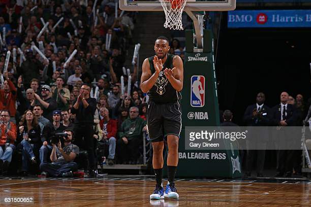 Jabari Parker of the Milwaukee Bucks celebrates during a game against the New York Knicks on January 6 2017 at the BMO Harris Bradley Center in...