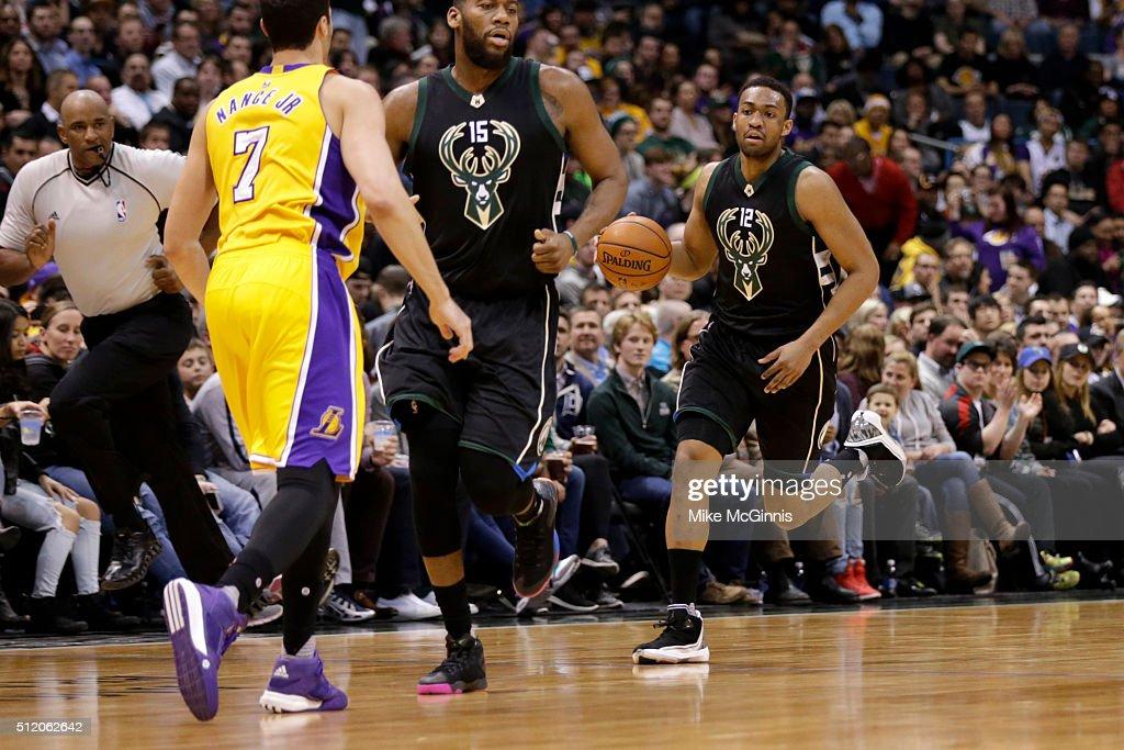 Jabari Parker #12 of the Milwaukee Bucks dribbles the basketball up ... Jabari Parker Lakers