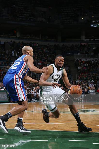 Jabari Parker of the Milwaukee Bucks drives to the basket against the Philadelphia 76ers during the game on January 16 2017 at the BMO Harris Bradley...
