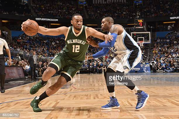 Jabari Parker of the Milwaukee Bucks drives to the basket against the Orlando Magic on January 20 2017 at Amway Center in Orlando Florida NOTE TO...