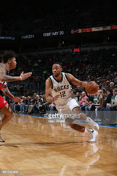 Jabari Parker of the Milwaukee Bucks drives to the basket during a game against the Washington Wizards on January 8 2017 at the BMO Harris Bradley...