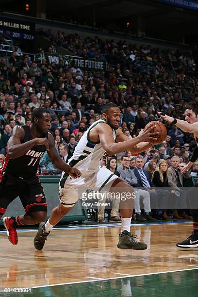 Jabari Parker of the Milwaukee Bucks drives to the basket during a game against the Miami Heat on January 13 2017 at the BMO Harris Bradley Center in...