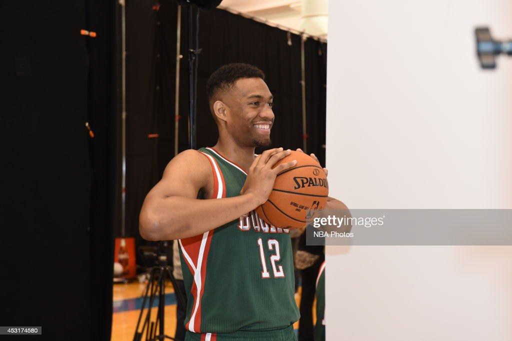 Jabari Parker #12 of the Milwaukee Bucks during the 2014 NBA rookie photo shoot on August 3, 2014 at the Madison Square Garden Training Facility in Tarrytown, New York.