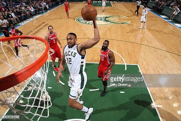 Jabari Parker of the Milwaukee Bucks goes to the basket against the Houston Rockets on January 23 2017 at the BMO Harris Bradley Center in Milwaukee...